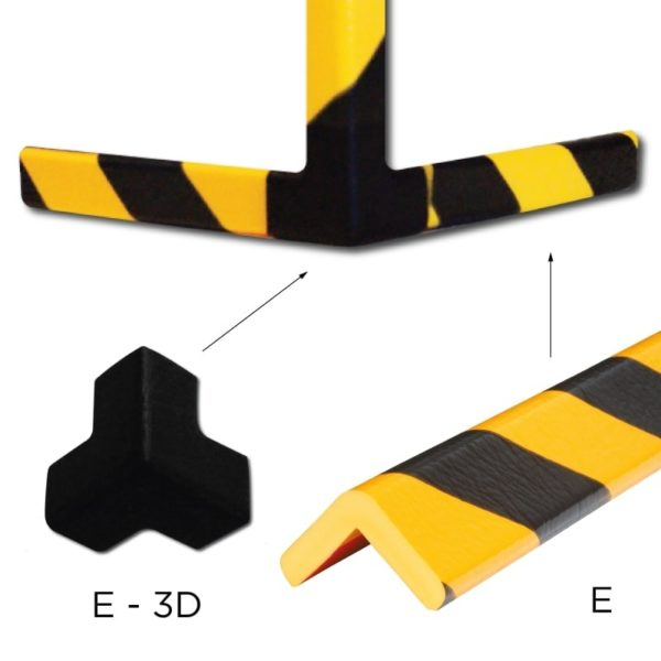 Bumper for corner protection combination of types E and E-3D.