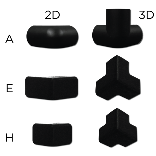 Bumper for corner protection connectors in 2D and 3D.