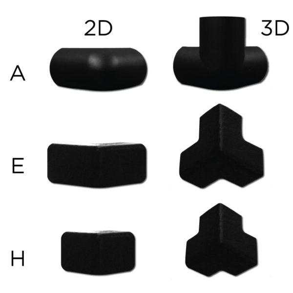Bumper hjørne beskyttelse forbindelsesdele i 2D og 3D.