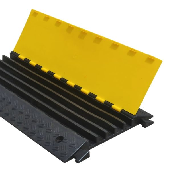 Cable bridge with 5 channels in black and yellow 930x500x50mm.