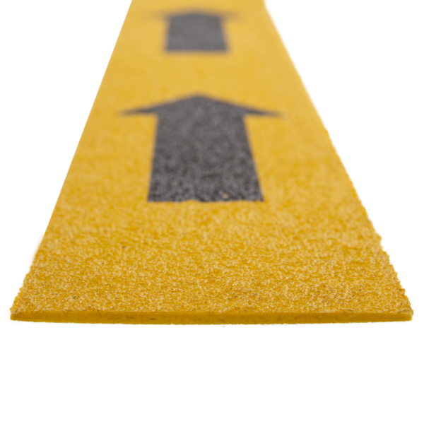 Escape marker in yellow with arrows, size 100mmx1200mm.