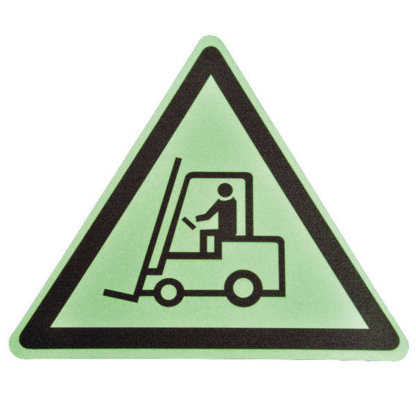 Floor marker with luminescent ''Beware of forklifts!'' nudging.