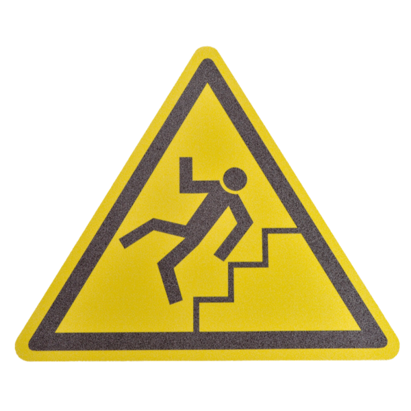 Floor marker with ''Beware of stairs!'' nudging.