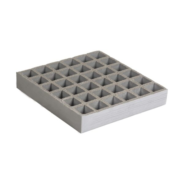Concave glassfibre grating in grey, size 1000-1220x30-38mm.