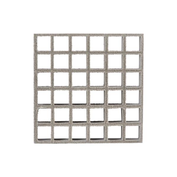 Anti-slip glassfibre grating surface in grey.