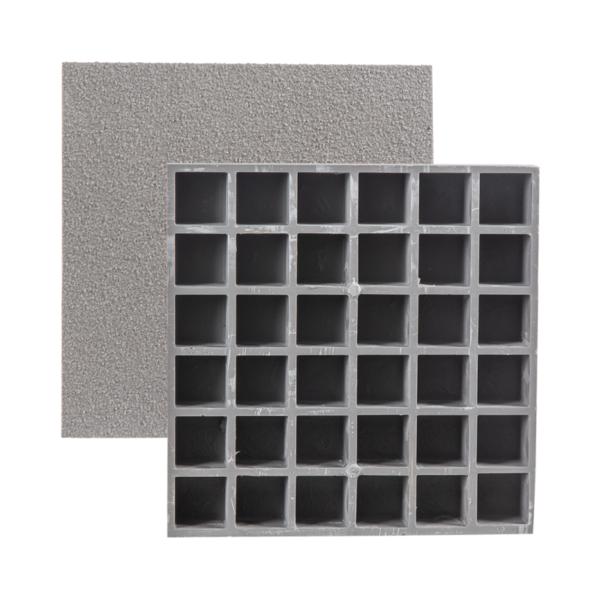 Closed, anti-slip glassfibre grating bottom in grey.