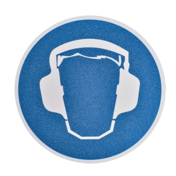 Gulv markør med ''Hørebeskyttelse!'' nudging.