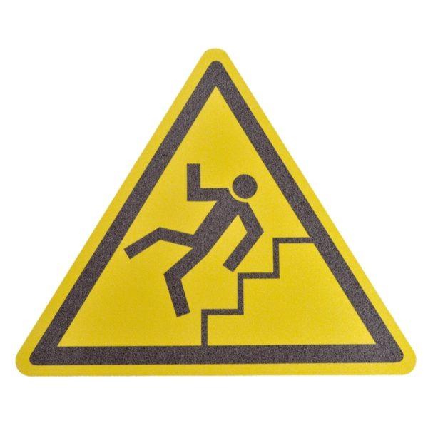 Gulv markør med ''Pas på trapper!'' nudging.