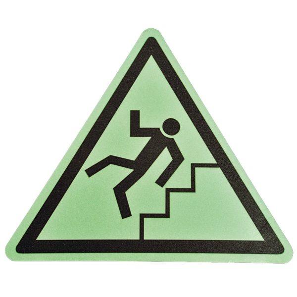 Gulv markør med selvlysende ''Pas på trapper!'' nudging.