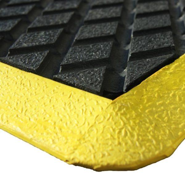 Ergonomic industry mat corner detail.