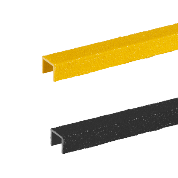 Ladder rung cover channel in black+yellow, size 20-30mmx300-500mm.