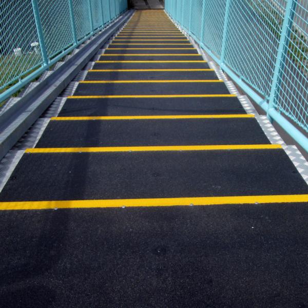 Landing covers mounted on steel steps.