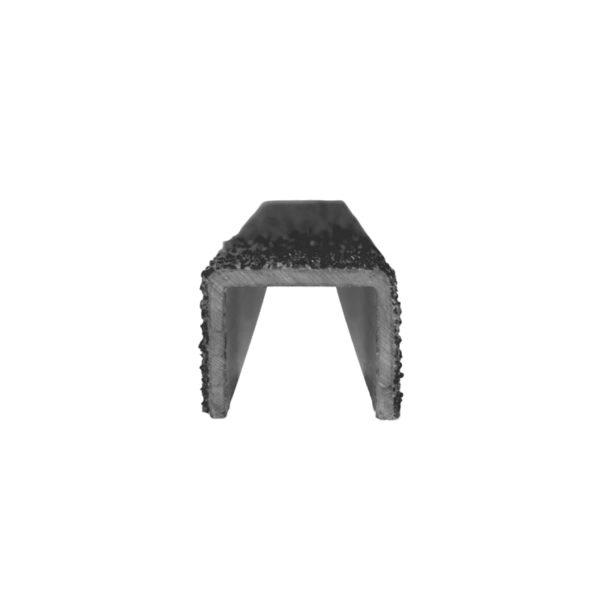 Stigesikring firkant i sort forfra på 25mmx300-500mm.