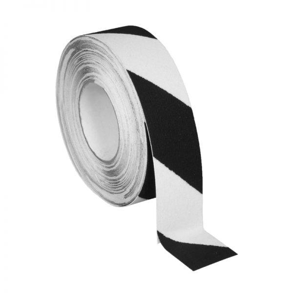 Skridsikker tape i selvlysende sort og hvid på 50mm.