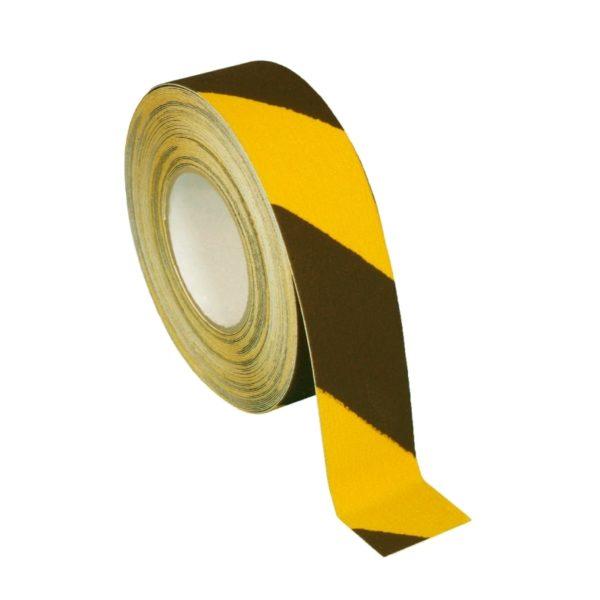Skridsikker tape i sort og gul på 50mm.