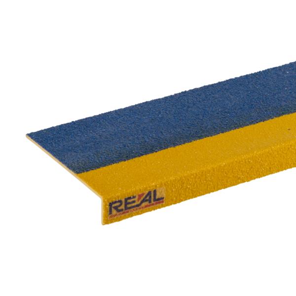 Skridsikker trinsikring profil i blå og gul på 150x450-1200mm.