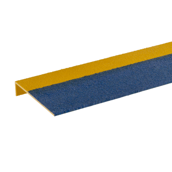 Skridsikker trinsikring profil i blå og gul på 225x450-1200mm.