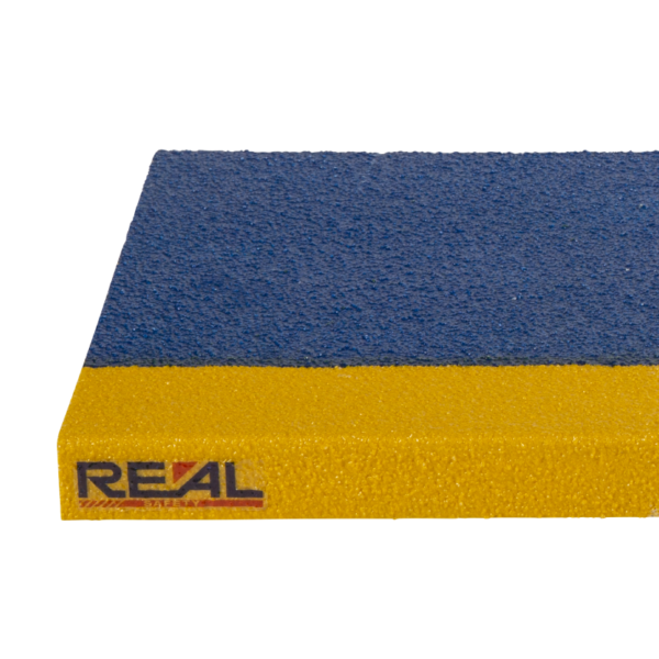 Skridsikker trinsikring profil i blå og gul på 300x450-1200mm.