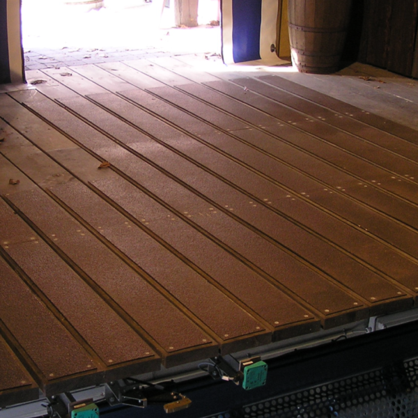 Walkway cover in brown on wood.